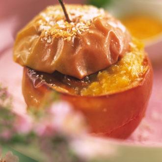 Pommes Pink Lady® au four au flan coco et coulis de mangue