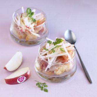 Verrines de St-Jacques au jambon cru et pommes Pink Lady®